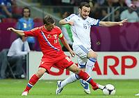 Fotball<br /> 16.06.2012<br /> EM 2012<br /> Russland v Hellas<br /> Foto: Witters/Digitalsport<br /> NORWAY ONLY<br /> <br /> v.l. Andrey Arshavin (Andrej Arschawin, Russland), Vassilis Torossidis<br /> Fussball EURO 2012, Vorrunde, Gruppe A, Griechenland - Russland