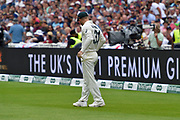 David Warner of Australia pulls his pockets out to show the fans in the Hollies stand there is no sandpaper in them during the International Test Match 2019 match between England and Australia at Edgbaston, Birmingham, United Kingdom on 3 August 2019.