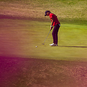 28 March 2018: Mila Chaves putts for par on the thirteenth hole during the final round of match play against UCLA at it's annual March Mayhem Tournament at the Farms Golf Club in Rancho Santa Fe, California.<br /> More game action at sdsuaztecphotos.com