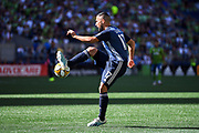 Sebastian Lletget (17) of LA Galaxy traps the ball during the MLS soccer match against the Seattle Sounders on Saturday, September 1, 2019, in Seattle, Washington. (Alika Jenner/Image of Sport via AP)