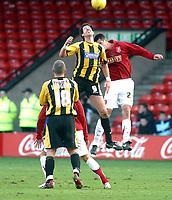 Photo: Dave Linney.<br />Walsall v Boston United. Coca Cola League 2. 27/01/2007.<br />Boston's Drewe Broughton(L) battles with   Scott Dann