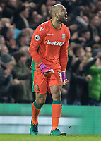 Football - 2016 / 2017 Premier League - Chelsea vs. Stoke City <br /> <br />  Lee Grant of Stoke City yells at his team mates after he concedes a goal at Stamford Bridge.<br /> <br /> COLORSPORT/DANIEL BEARHAM