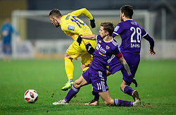 Agim Ibraimi of NK Domzale vs Luka Zahovic of NK Maribor and Mitja Viler of NK Maribor during football match between NK Domzale and NK Maribior in 18th Round of Prva liga Telekom Slovenije 2018/19, on November 11, 2018 in Sportni Park, Domzale, Slovenia. Photo by Vid Ponikvar / Sportida