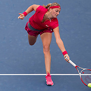 August 21, 2014, New Haven, CT:<br /> Petra Kvitova reaches for a forehand during a match against Barbora Zahlavova Strycova on day seven of the 2014 Connecticut Open at the Yale University Tennis Center in New Haven, Connecticut Thursday, August 21, 2014.<br /> (Photo by Billie Weiss/Connecticut Open)