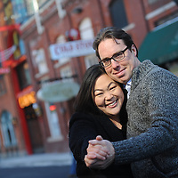 Engagement photos for Shannon Shin and Tony Krempa in downtown Detroit.  Photos by Melanie Maxwell