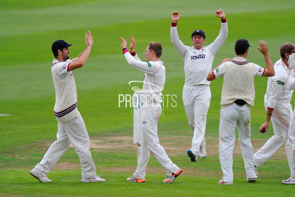 Dom Bess of Somerset celebrates taking the wicket of Ian Westwood of Warwickshire in his debut county championship match for Somerset during the Specsavers County Champ Div 1 match between Somerset County Cricket Club and Warwickshire County Cricket Club at the Cooper Associates County Ground, Taunton, United Kingdom on 6 September 2016. Photo by Graham Hunt.
