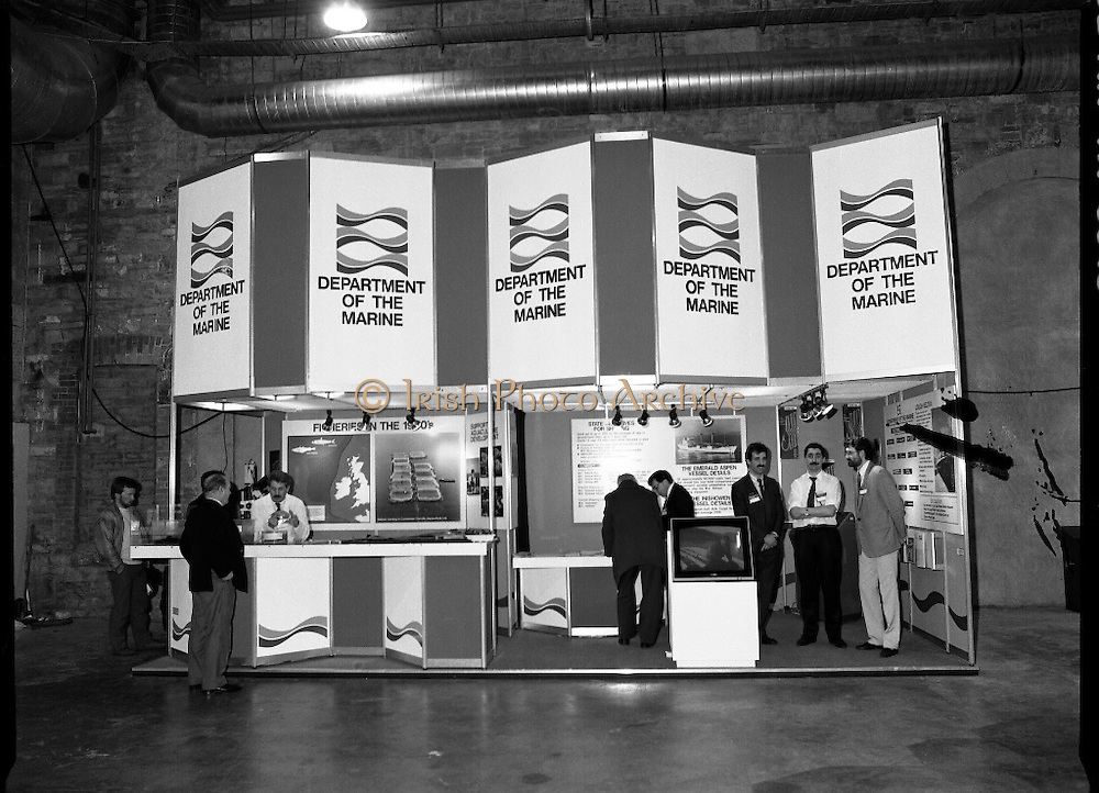 The 1989 Boat Show.   (R89)..1989..10.03.1989..03.10.1989..10th March 1989..Pat the Cope GallagherTD, Minister for the Marine attended the opening of the 1989 Boat Show held at the Point Depot, Dublin. The opening coincided with the minister's birthday...A view of the Department of the Marine at the boat show in the Point Depot,East Wall, Dublin.