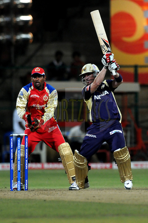 Brad Haddin of Kolkata Knight Riders bats during match 10 of the NOKIA Champions League T20 ( CLT20 )between the Royal Challengers Bangalore and the Kolkata Knight Riders held at the  M.Chinnaswamy Stadium in Bangalore , Karnataka, India on the 29th September 2011..Photo by Pal Pillai/BCCI/SPORTZPICS