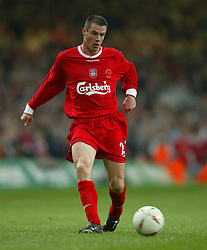 CARDIFF, WALES - Sunday, March 2, 2003: Liverpool's Jamie Carragher in action against Manchester United during the Football League Cup Final at the Millennium Stadium. (Pic by David Rawcliffe/Propaganda)