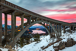"""Sunrise at Rainbow Bridge 4"" - Sunrise photograph at Rainbow Bridge above Donner Lake and Truckee, California."