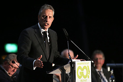 © Licensed to London News Pictures. 4/03/2016. Belfast, Northern Ireland, UK. Ian Paisley  speaks to Brexit supporters, as they gather in Belfast for a Grassroots Out rally. Speakers included Jim Allister MLA (Leader, Traditional Unionist Voice) Sammy Wilson MP (DUP) Kate Hoey MP (Labour), Peter Bone MP (Conservative) Tom Pursglove MP (Conservative) David McNarry MLA (Leader, UKIP NI) Graham Gudgin (Economist) Kevin McCorry (People's Movement),  Nigel Farage MEP (Leader, UKIP).    Photo credit : Paul McErlane/LNP