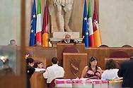 Roma, 9 Luglio 2012.Consiglio comunale in Campidoglio nell'aula Giulio Cesare per  la discussione sulla  cessione del 21% della controllata Acea, l'azienda che si occupa di acqua e servizi. Il Presidente del Consiglio Comunale. Marco Pomarici
