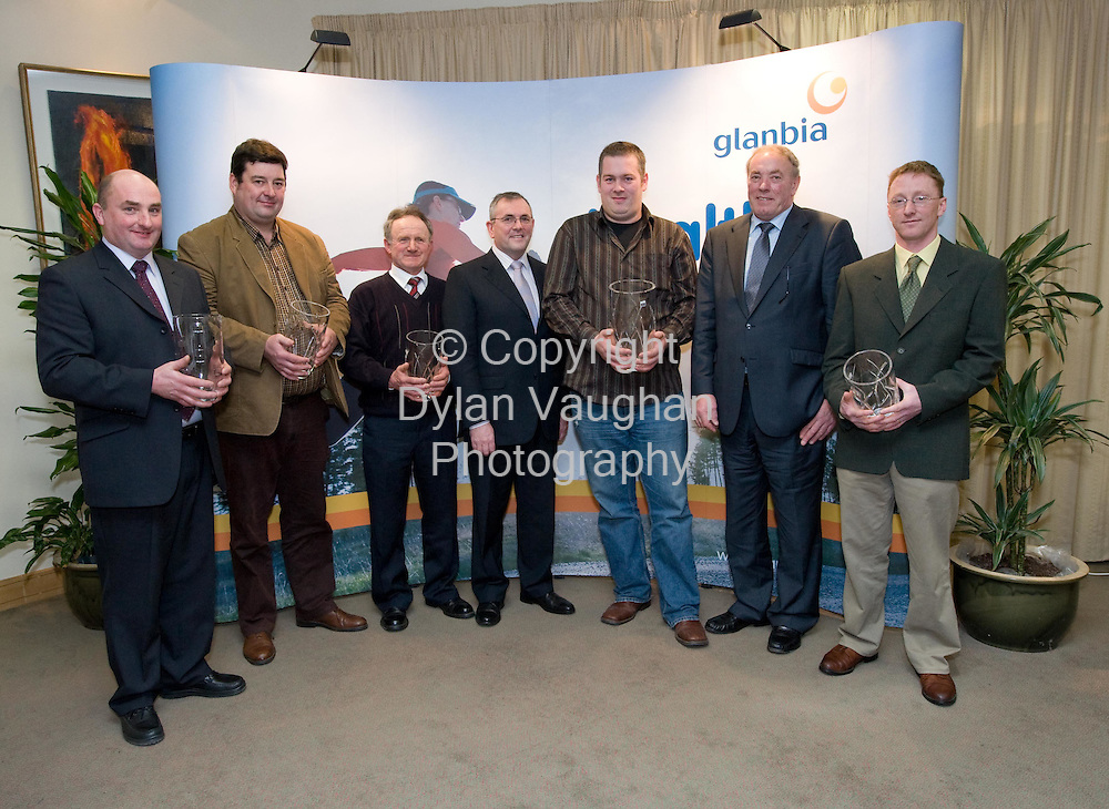 25/1/2008.free picture no charge for use.Pictured at Glanbia House in KIlkenny at the annual Grain Awards was from left Martin McDonald, Enniscorthy, Glanbia Quality Oats Award, Robert Stuart, Gorey, Wicklow/North Wexford winner, Thomas O Dowd, Castlelyons, Cork/Tipperary/Waterford Winner, John McGuinness TD, Junior Minister responsible for Trade and Commerce, Peter Cummins, New Ross, South Wexford Winner and Overall Winner, Michael Walsh, Glanbia Chairman and Leo Mahon, Bennetsbridge, Kildare/Laois/Kilkenny winner..Picture Dylan Vaughan.