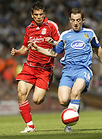 Photo: Aidan Ellis.<br /> Liverpool v Wigan Athletic. The Barclays Premiership. 21/04/2007.<br /> Liverpool's Mark Gonzalez (L) and Wigan's Leighton Baines
