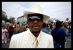 15th, Jan, 2005. New Orleans, Louisiana. A coalition of 27 social aid and pleasure clubs join forces for a second line parade with the Rebirth Jazz band reclaiming the streets of New Orleans. 'Doc,' is back in town.