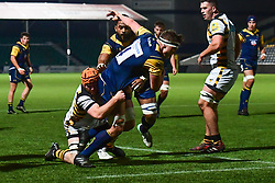 Ted Hill of Worcester Cavaliers is tackled by George Cox of Wasps - Mandatory by-line: Craig Thomas/JMP - 23/10/2017 - RUGBY - Sixways Stadium - Worcester, England - Worcester Cavaliers v Wasps - Aviva A League