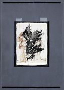 collage with leaf imprint and renaissance drawing by Fra Bartolommeo
