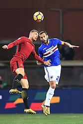 24.01.2018, Stadio Luigi Ferraris, Genua, ITA, Serie A, Sampdoria Genua vs AS Roma, 3. Runde, im Bild dzeko edin // dzeko edin during the Italian Serie A 3th round match between Sampdoria Genua and AS Roma at the Stadio Luigi Ferraris in Genua, Italy on 2018/01/24. EXPA Pictures © 2018, PhotoCredit: EXPA/ laPresse/ Tano Pecoraro<br /> <br /> *****ATTENTION - for AUT, SUI, CRO, SLO only*****