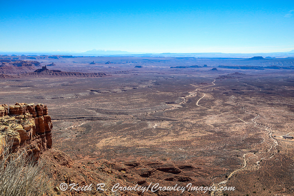 State Highway 261 leading toward Monument Valley, as seen from atop the escarpment at Moki Dugway.