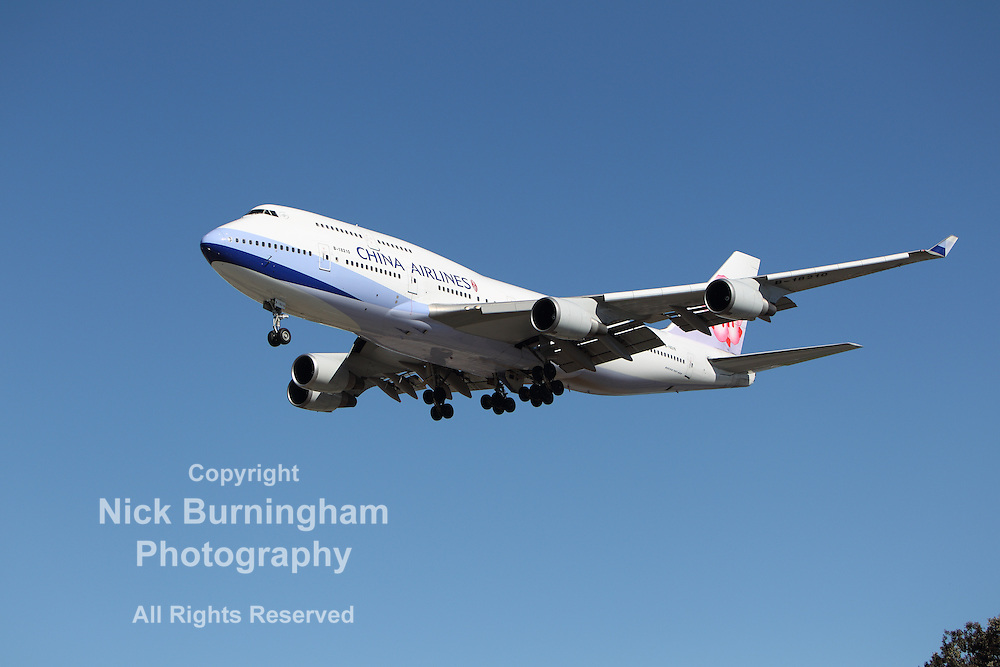 LOS ANGELES, CALIFORNIA, USA - JANUARY 15, 2013 - China Airlines Boeing 747-409 lands at Los Angeles Airport on January 15, 2013. The 400 series is 4% more fuel efficient than other 747's.