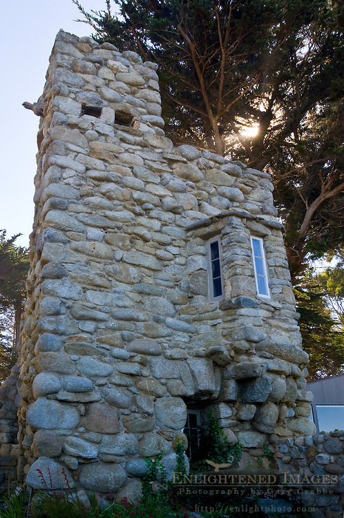Hawk Tower at Tor House, stone cottage home of poet Robinson Jeffers, Carmel-by-the-Sea, Carmel, Monterey Peninsula, California