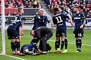 Leeds United players celebrate Leeds United forward Patrick Bamford (9) goal during the EFL Sky Bet Championship match between Bristol City and Leeds United at Ashton Gate, Bristol, England on 9 March 2019.