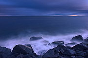 Stormy waters on the shoreloine of the Gulf of St. Lawrence. Gaspe Peninsula. <br />Ruisseau Castor<br />Quebec<br />Canada