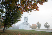 Sudbury Town Hall on a foggy morning, Sudbury, Vermont.