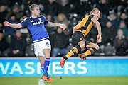 Joe Ralls (Cardiff City) tackles David Meyler (Hull City) on the edge of the box during the Sky Bet Championship match between Hull City and Cardiff City at the KC Stadium, Kingston upon Hull, England on 13 January 2016. Photo by Mark P Doherty.