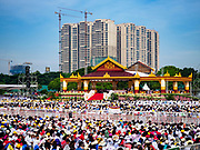 29 NOVEMBER 2017 - YANGON, MYANMAR:  The altar of the Papal Mass in Yangon. Hundreds of thousands of Catholics from Myanmar attended the mass said by Pope Francis at Kyaikkasan Sports Ground in Yangon Wednesday. Pope Francis is on the first visit by a Pope to Myanmar.   PHOTO BY JACK KURTZ