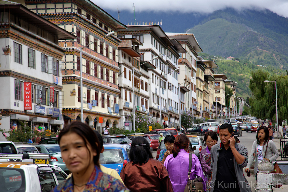 Downtown Thimppu, Bhutan on September 5, 2013. Only few old structures remain as the most of buildings have been renovated in the city's recent redevelopment process.  <br /> (Photo by Kuni Takahashi)