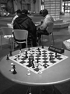 A finished game of chess at 60 Wall Street Atrium, New York City.