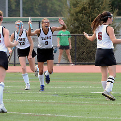 Radnor's Lexi Kenneally (6) celebrates her game winning goal as her teammates Lydia Sydnor (9) Kate Quinn (13) and Hope Smith (22) rush to celebrate with her during the Radnor at Ridley field hockey game, Thursday afternoon September 11, 2014. (Times staff / TOM KELLY IV)