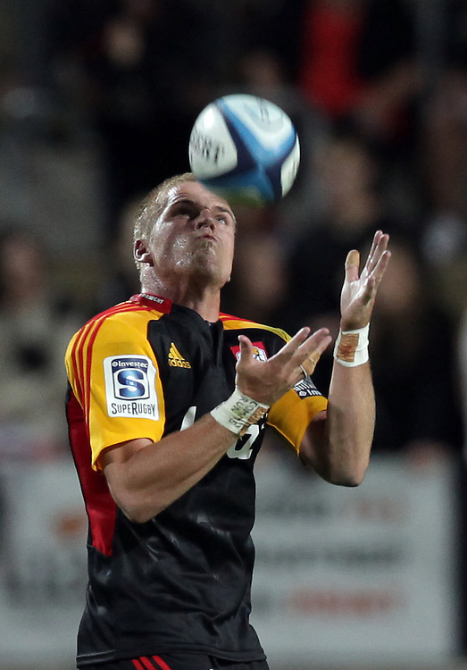 Chiefs' Gareth Anscombe catches the ball whilst playing the Highlanders in a Super Rugby match, Waikato Stadium, Hamilton, New Zealand, Friday, March 22, 2013.  Credit:SNPA / David Rowland