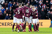Harry Cochrane (#47) of Heart of Midlothian celebrates Heart of Midlothian's first goal (1-0) scored by Don Cowie (#15) of Heart of Midlothian during the William Hill Scottish Cup 4th round match between Heart of Midlothian and Hibernian at Tynecastle Stadium, Gorgie, Scotland on 21 January 2018. Photo by Craig Doyle.
