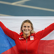 Athletics - Olympics: Day 13 Barbora Spotakova of the Czech Republic celebrates winning the bronze medal in the Women's Javelin Final at the Olympic Stadium on August 18, 2016 in Rio de Janeiro, Brazil. (Photo by Tim Clayton/Corbis via Getty Images)