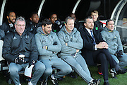 Fulham First Team Head Coach Slavisa Jokanovic, Fulham First Team Assistant Head Coach Javier Pereira during the EFL Sky Bet Championship match between Fulham and Brighton and Hove Albion at Craven Cottage, London, England on 2 January 2017.