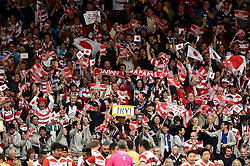 Japan supporters celebrate a try - Mandatory byline: Patrick Khachfe/JMP - 07966 386802 - 23/09/2015 - RUGBY UNION - Kingsholm Stadium - Gloucester, England - Scotland v Japan - Rugby World Cup 2015 Pool B.