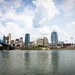 Picture of downtown Cincinnati skyline and city buildings including Great American Ballpark, Great American Insurance Group Tower, PNC Tower building, Omnicare building, US Bank building, Carew Tower building, Scripps Center building, US Bank Area, and Roebling Bridge. Photo was taken in July 2012.