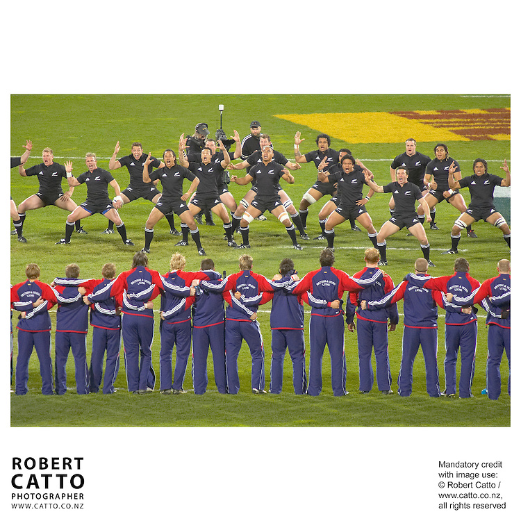 All Blacks;British &amp; Irish Lions at the British &amp; Irish Lions v. All Blacks Second Test at Westpac Stadium, Wellington, New Zealand.<br />
