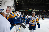 KELOWNA, CANADA - DECEMBER 1:  Dawson Davidson #4 of the Saskatoon Blades celebrates a second period goal against the Kelowna Rockets on December 1, 2018 at Prospera Place in Kelowna, British Columbia, Canada.  (Photo by Marissa Baecker/Shoot the Breeze)