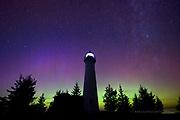 Crisp Point Lighthouse Milky Way and Aurora