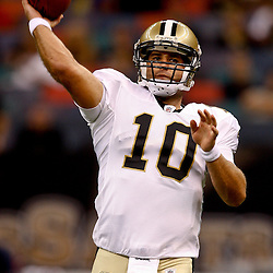 August 21, 2010; New Orleans, LA, USA; New Orleans Saints quarterback Chase Daniel (10) during warm ups prior to kickoff of a preseason game against the Houston Texans at the Louisiana Superdome. Mandatory Credit: Derick E. Hingle