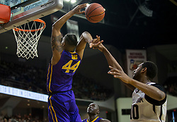 LSU forward Wayde Sims (44) is fouled by Texas A&M center Tonny Trocha-Morelos (10) while trying to dunk the ball during the second half of an NCAA college basketball game Saturday, Jan. 6, 2018, in College Station, Texas. (AP Photo/Sam Craft)
