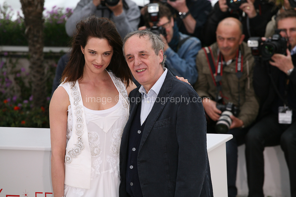 Asia Argento, Dario Argento, at the Dario Argento Dracula film  photocall at the 65th Cannes Film Festival. Saturday 19th May 2012 in Cannes Film Festival, France.