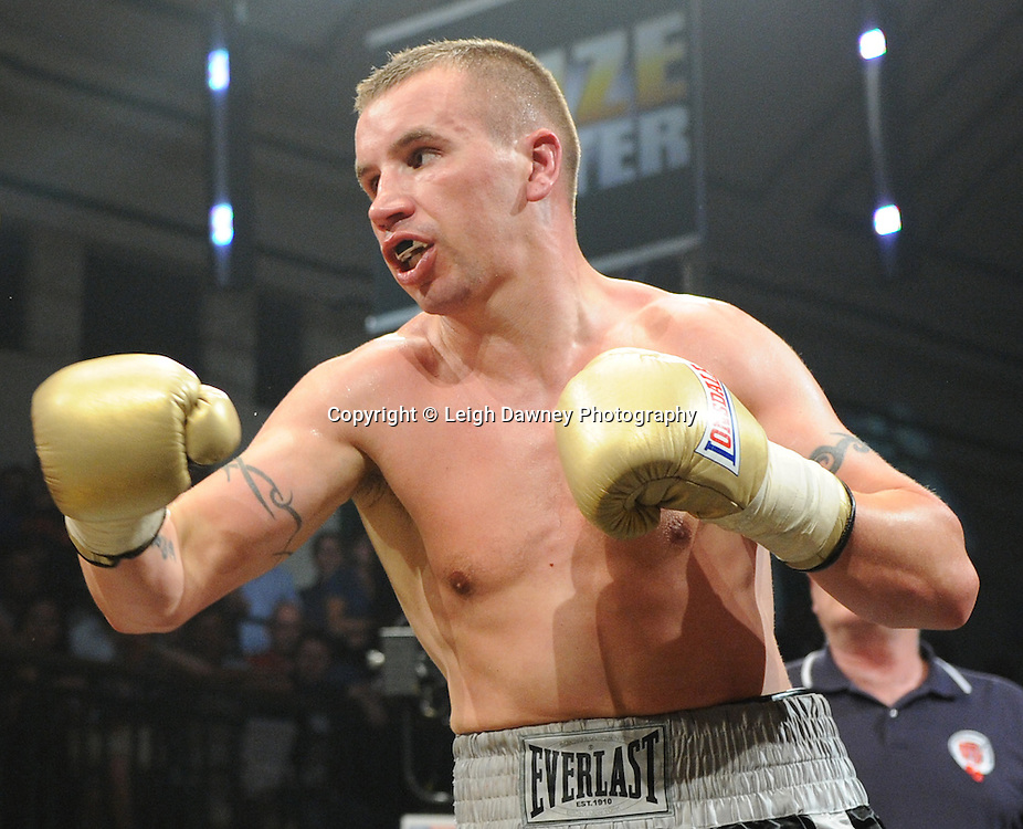 John Wayne Hibbert  is defeated by Kevin McIntyre (pictured) at Quarter Final One at Prizefighter Welterweights II,York Hall, Bethnal Green ,London. Matchroom Sport/Prizefighter.Photo credit: Leigh Dawney 2011 07.06.11