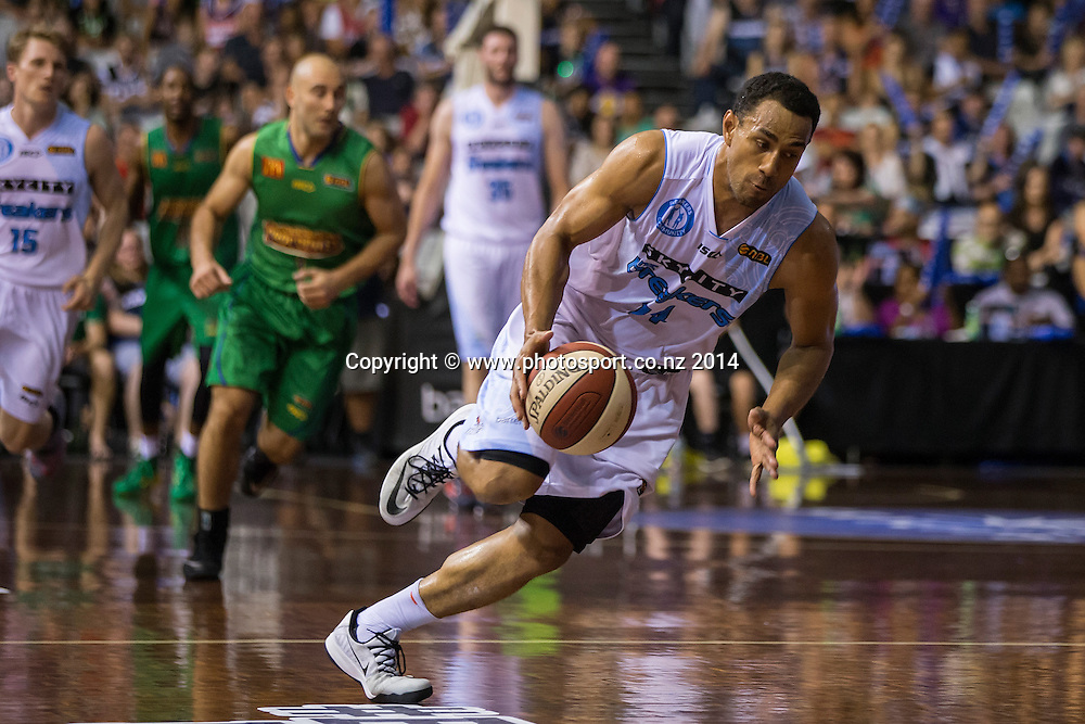 Breakers` Mika Vukona in the game between SkyCity Breakers v Townsville Crocodiles. 2014/15 ANBL Basketball Season. North Shore Events Centre, Auckland, New Zealand, Friday, December 19, 2014. Photo: David Rowland/Photosport