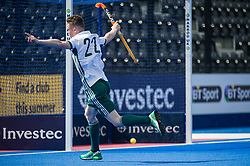 Will Heywood scores for Canterbury. Canterbury v Sevenoaks - Men's Hockey League Finals, Lee Valley Hockey & Tennis Centre, London, UK on 23 April 2017. Photo: Simon Parker