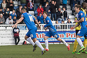 Hartlepool United striker Billy Paynter scores a goal from the penalty spot during the Sky Bet League 2 match between Hartlepool United and Dagenham and Redbridge at Victoria Park, Hartlepool, England on 12 March 2016. Photo by George Ledger.