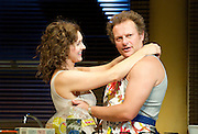 Frankie & Johnny <br /> in the Claire de Lune<br /> by Terrence McNally <br /> directed by Paulette Randall <br /> at the Minerva Theatre, Chichester, Great Britain <br /> press photocall<br /> 11th November 2014 <br /> <br /> Dervla Kirwan as Frankie<br /> <br /> Neil Stuke as Johnny <br /> <br /> Photograph by Elliott Franks <br /> Image licensed to Elliott Franks Photography Services